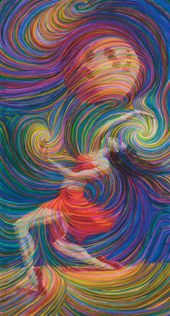 The joy of being in our body, as depicted in this painting Moon Dancer, but energy artist Julia Watkins. Clickthrough to see more of her work.