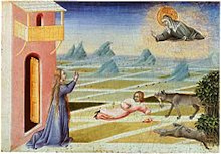 Painting by Giovanni di Paolo, 1455, depicting a famous legend in which Clare intervenes with a wolf to save a child's life