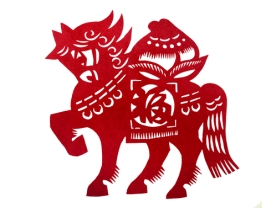 Chinese traditional paper cutting of a horse