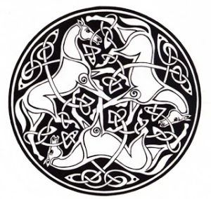 A Celtic knot of horses, representing power, nobility, and connection to the earth