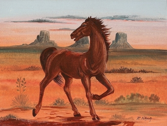 Watchful Colt in Monument Valley, by Hopi Artist Raymond Naha, clickthrough for gallery