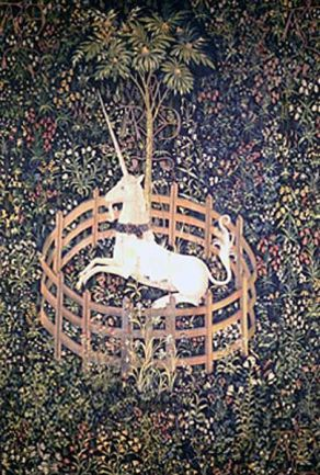 The Unicorn is Penned, one of a series in the medieval Unicorn Tapestries housed at The Cloisters, Metropolitan Museum of Art, New York City