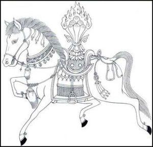 Tibetan Wind-Horse, often found on prayer flags
