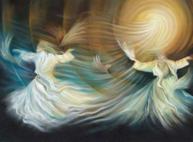 Sufis Whirling by Iranian artist Mitra Banejad. Whirling is not from the same tradition as Umm 'Abdallah, but I felt the spirit of it matched (and the artist is a woman as well!)  Clickthrough for source.