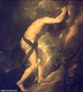 Titian's painting of Sisyphus pushing a boulder uphill