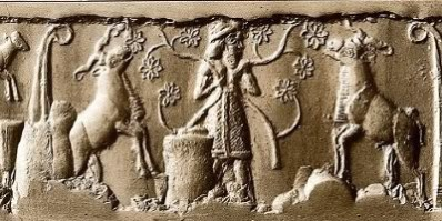 Dumuzi tending the sheep of Duttur, the Sumerian goddess of sheep (and personified as an ewe.)