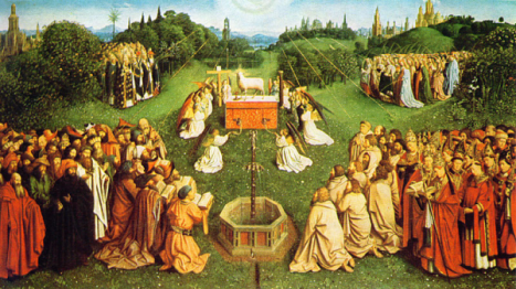 Adoration of the Lamb, painted by Hubert and Jan van Eyck as part of the famous Ghent Altarpiece, completed in 1432