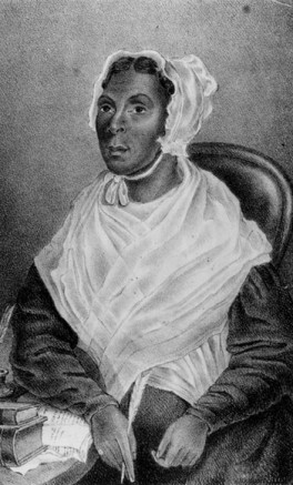 """Official Caption reads """"Mrs. Jarena Lee. Preacher of the A.M.E, Church. Aged 60 years on the 11th day of the 2nd month 1844. Philad 1844"""""""