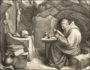 Painting by Francis Wenceslas Holler of St. Francis of Assisi in his cave retreat.