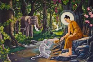 buddhawithmonkeyandelephant