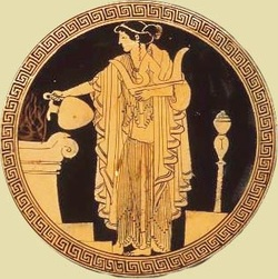 Rendering of Oracle of Delphi from vase